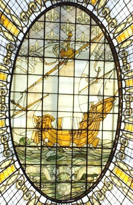Stain glass ship